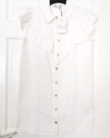 Zara womens white Ruffle shirt dress. New with tags. Size 12/Medium