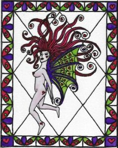 Nude Fairy Angel Stained Glass Painting