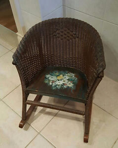 Antique Child OR Doll Wicker Rocking Chair - Hand Painted