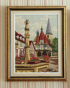 NEEDLEPOINT Picture - European TOWN SQUARE - Hand Stitched