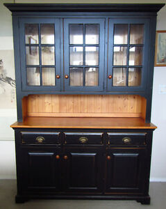 country-style buffet & hutch, black
