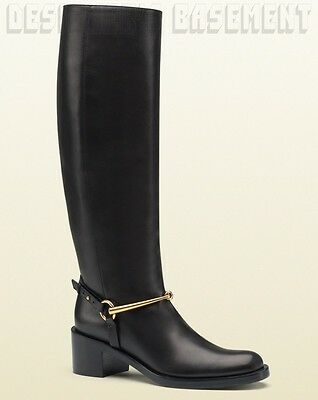 GUCCI black Leather TESS gold HORSEBIT ankle RIDING Low heel boots ...