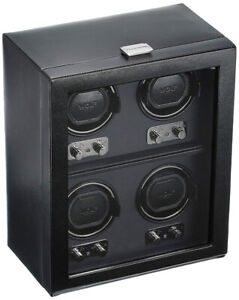 WOLF Heritage 4 Piece Watch Winder with Cover, Black - As new