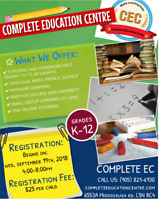 TUTORING FOR ALL SUBJECTS (K-12) AT COMPLETE EDUCATION CENTRE