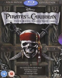 BLU-RAY! DISNEY'S PIRATES OF THE CARIBBEAN 4 MOVIE SET