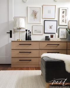 Ikea Malm Dresser with Custom Handles