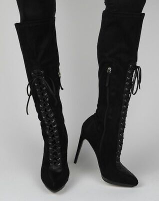 Bebe Boots Black Lace Up Corset Style Knee High, Shoes, 6.5, 6 1/2, Last 1 1/2' Lace Up Knee Boot