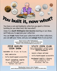 GOLD, COINS, BANKNOTES SHOW GUELPH SAT. SEPTEMBER 22nd 9am-3pm