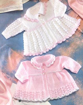 "Vintage  Baby Matinee Coat Lace Pattern 12"" - 20"" DK Knitting Pattern"