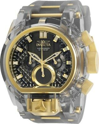 Invicta Mens Reserve 52mm Bolt Zeus Magnum Gold-Tone Grey Dual Dial Strap Watch