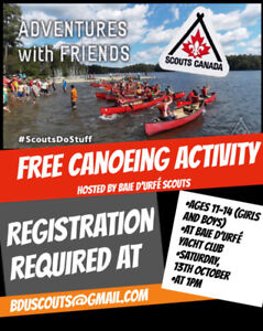 Canoeing in Baie D'Urfe for 11-14 year olds - Sat 13th Oct