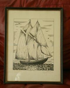 """""""Outward Bound"""" """"The Bluenose"""" A signed print by Lloyd Nowlan."""