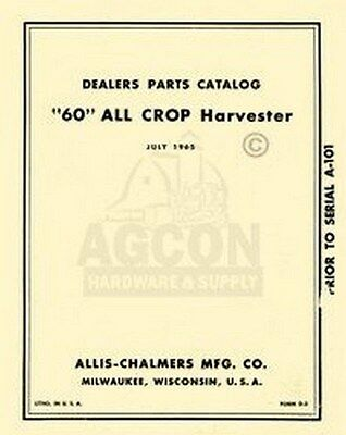 Allis Chalmers All Crop 60 Harvester Parts Manual D-2