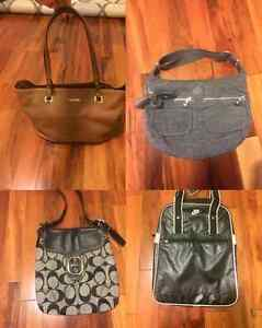 4 Purses: Nike, leather Calvin Klein with tags,Coach, Kipling
