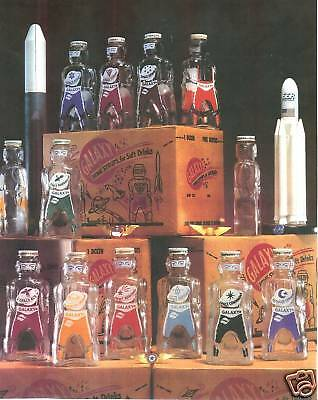12  GALAXY SYRUP BOTTLES SPACEMEN COIN  PIGGY BANKS  and SCI-FI  BOX 1950s