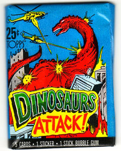 1988 DINOSAURS ATTACK SEALED PACK 5 CARDS 1 STICKER 1 GUM