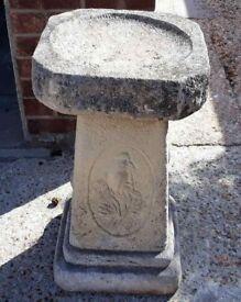 Sandford Stone Square Top Garden Feature Birdbath with Carvings Bird Bath
