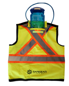 Reflective construction safety vest with water bladder