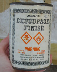 VINTAGE 1980's LEWISCRAFT FINISH (20 oz.) PAPER LABEL CAN
