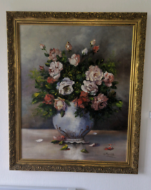 Vintage Bouquet of Roses Oil Painting by G Munar