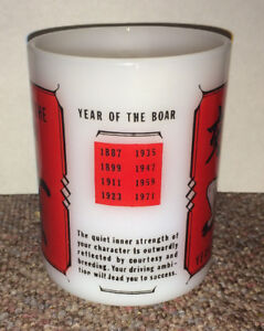 FEDERAL Milk Glass Mug YEAR OF THE BOAR Chinese Calendar Zodiac