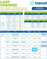Hot Deals, Limited Space! Ontario Departures. Less than 48 Hours