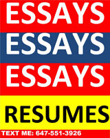 HIGH QUALITY ESSAYS/ RESUMES/COVER LETTERS/ESSAYS