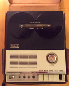 Vintage Sanyo portable reel to reel tape recorder