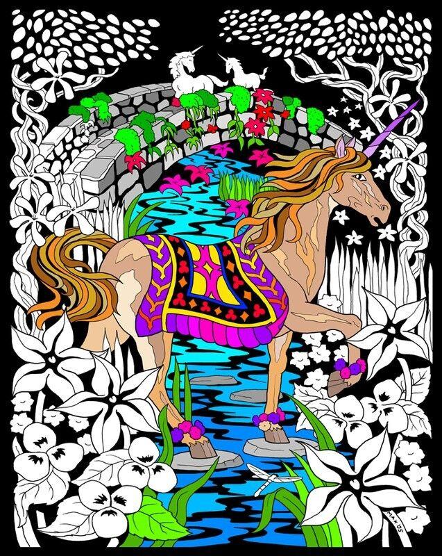 Unicorn Bridge - Large 16x20 Inch Fuzzy Velvet Coloring Poster