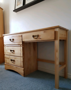 Hardwood Birch Desk, Solid Wood Student Desk 4 Drawers / Dresser