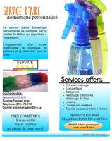Service d'aide domestique personnalisé / Entretien ménager