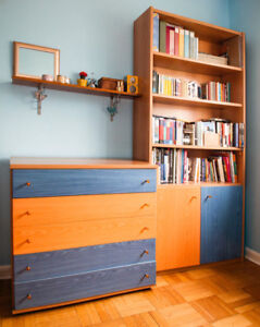 Colorful kids/teens upright shelving cabinet with 2 doors