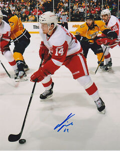 DETROIT RED WINGS AUTOGRAPHED PHOTOS ! GREEN, NYQUIST, AND MORE