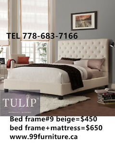 █♣█MUST GO~BEIGE LUXURY FABIRC BED~HIGH DESIGN~TULIP BRAND NEW