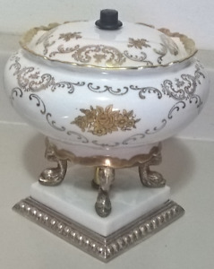 Vintage Italian Porcelain Candy Dish with Lid and Brass Dolphin