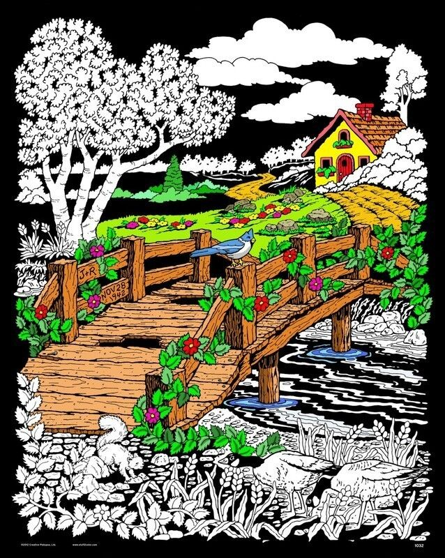 Wooden Bridge - Large 16x20 Inch Fuzzy Velvet Coloring Poster