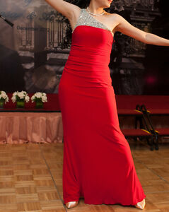 Nordstrom red evening dress with crystal detail