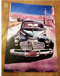 Route 66 Art (with 1941 Chevy) by Bill Drysdale Metal Sign