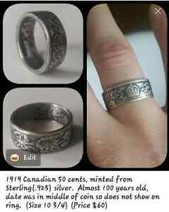 Silver Coin ring mens jewlery gift craft CoinRing gift