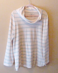 Pale pink and grey striped cowl neck pullover