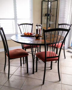Dining set, stone top table from MOBILIA and 4 chairs AMISCO