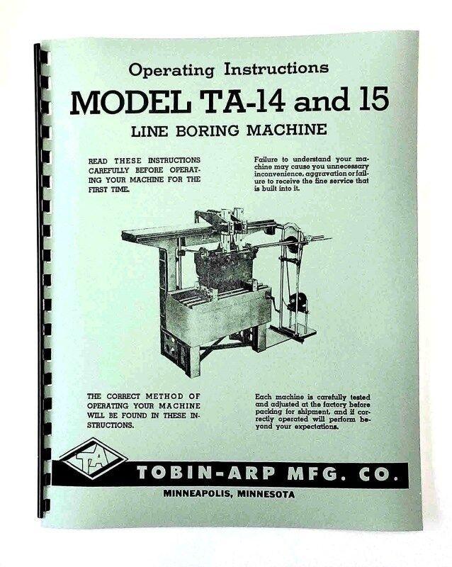 Tobin Arp Sunnen TA 14 & 15 Line Bore Manual