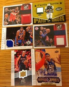 4 Basketball Jersey Cards 1 Autographed BB Card 1 Football Patch