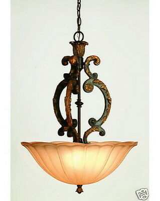 Antique Amber Bronze And Champagne Frosted Glass Chandelier/Pendant