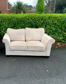 2 seater sofa in biscuit fabric £85
