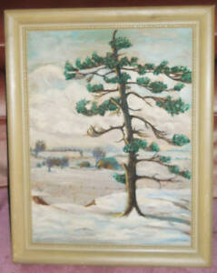 1954 SIGNED CANADIAN OIL PAINTING /LANDSCAPE /TREES