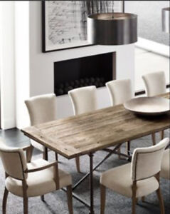 8 SEATER DINING TABLE WITH CUSTOM TEMPERED GLASS TOP FROM RH