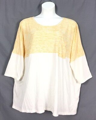 Plus Size Womn Within Marled Scoopneck Contrast Tunic 3X 30 32 Orange White S3