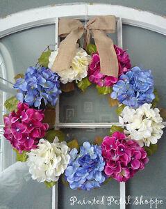 Periwinkle/Ivory/Fuchsia Hydrangea Wreath/Spring/Wedding Wreath Belleville Belleville Area image 2