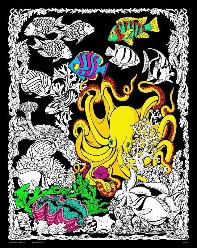Octopus Den - Large 16x20 Inch Fuzzy Velvet Coloring Poster